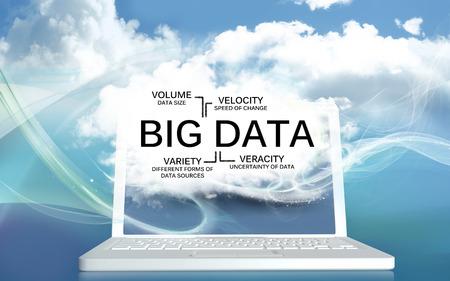 Big Data avec le volume, la vitesse, la variété et la véracité