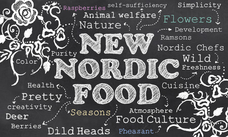 New Nordic Food Culture with Chalk on Blackboard Stock Photo