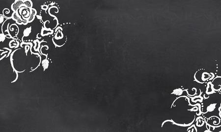 Blank Blackboard with Vintage Floral Pattern Drawing in Chalk