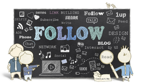 Follow with Therms of Social Media on Blackboard Stock Photo