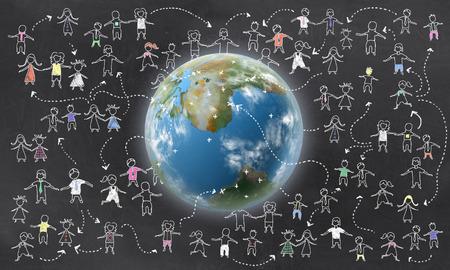 Geotargeting mit der Erde und den Menschen auf Tafel Standard-Bild - 27705906
