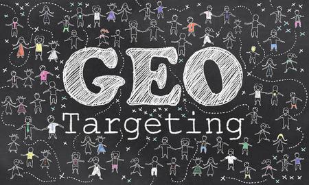 Geo-Targeting auf Blackboard mit kleinen Menschen in Chalk Standard-Bild - 27705907