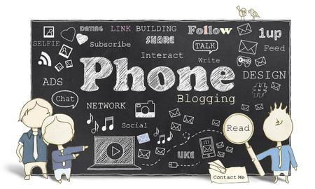 Worte der Social Media und Blogging Telefon auf Tafel Standard-Bild - 27705908