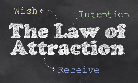 칠판에 매력의 법칙을 가진 3 단계 과정