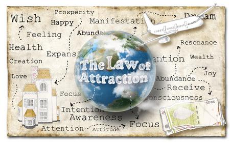 Mundial de la ley de la atracción en el papel viejo Foto de archivo