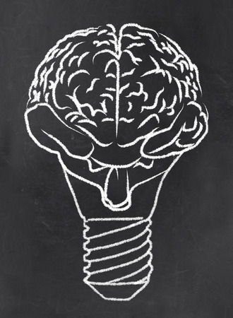 Abstrakt Gehirn als Birne auf Tafel Standard-Bild - 27910869