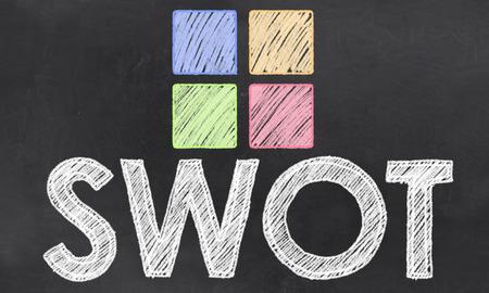 SWOT Wort mit Kreide und bunten Quadraten auf Tafel Standard-Bild - 27910873
