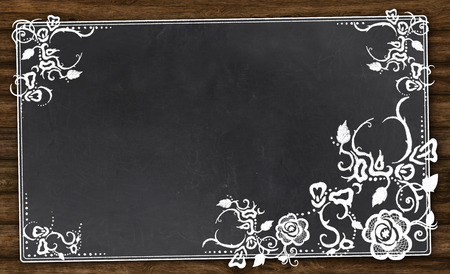 Empty Blackboard with Vintage Florals and Clipping Path