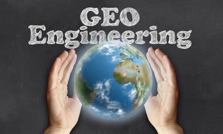 Die Pflege der Erde mit Geo-Technik auf Tafel Standard-Bild - 27938133
