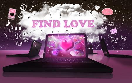 Die Suche nach der Liebe mit Online Internet-Dating auf Digital Devices Standard-Bild - 30138397
