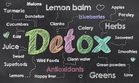 Buzzwords für Detox geschrieben auf Tafel mit Kreide Standard-Bild - 70947613