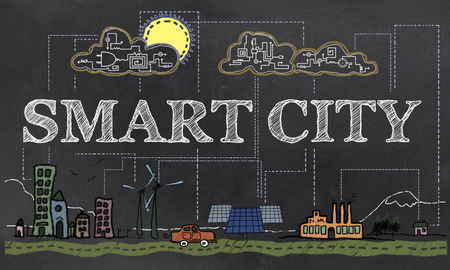 Smart City Technologie Illustriert auf Altpapier Standard-Bild - 80381486