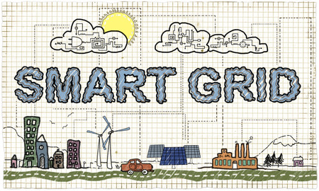 Smart Grid Illustration Standard-Bild - 80381488