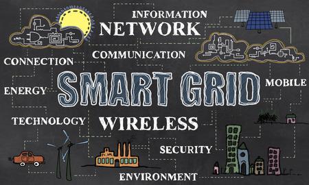 Smart Grid with Renewable Energy on Blackboard Stock Photo
