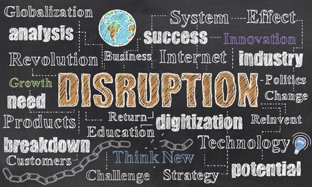 Disruption Strategy Illustration with Earth and broken Chain 写真素材