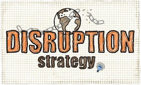Disruption Strategie Illustration mit Erde und gebrochene Kette Standard-Bild - 80772333