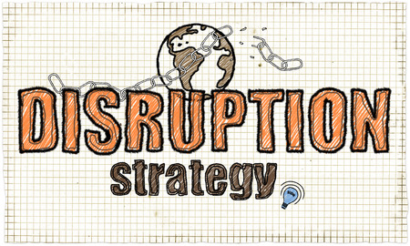 Disruption Strategy Illustration with Earth and broken Chain Stock Photo