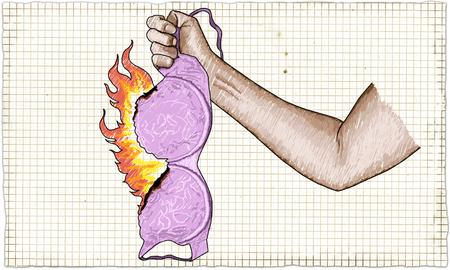 Strong Woman Fist holding Burning Bra