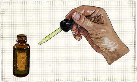 Illustration with Doctor Hand, Medical Drops and Bottle