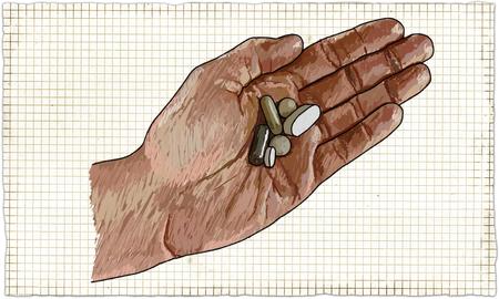 Illustration der Hand mit Pillen in klassischen alten Stil Standard-Bild - 81603761