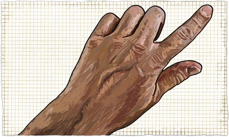 Illustration of Hand Pointing on or Touching Paper Background