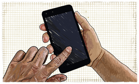 Illustration of Hands with Blank Smartphone ready to use