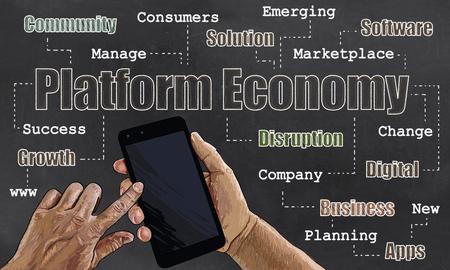 Platform Economic on Blackboard with words of Business
