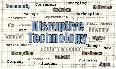 Disruptive Technologie auf altem Papier mit Worten des Geschäfts Standard-Bild - 82522000