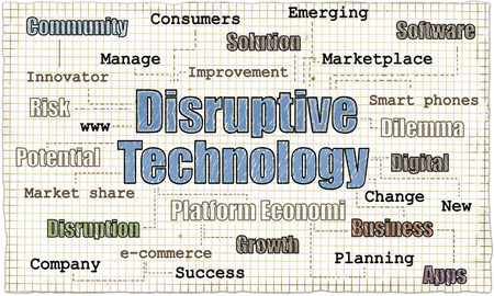 Disruptive Technology on Old Paper with words of Business