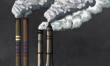 산업 굴뚝에서 오염 칠판에 빈 공간이 쓰기에 대 한 그림