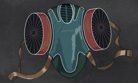 Illustration der Maske, die vor Verschmutzung schützt Klassische Zeichnung. Standard-Bild - 84317822