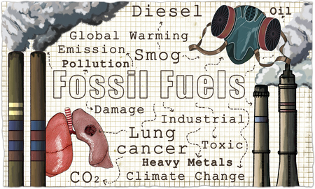 Fossil Fuels, Global Warming and the price of Heavy Industry illustrated in Classic style