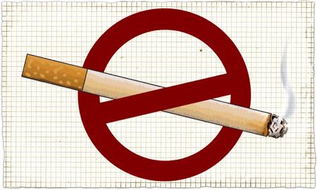 Nicht rauchen Zeichen Illustriert auf Tafel im klassischen Stil Standard-Bild - 84344377