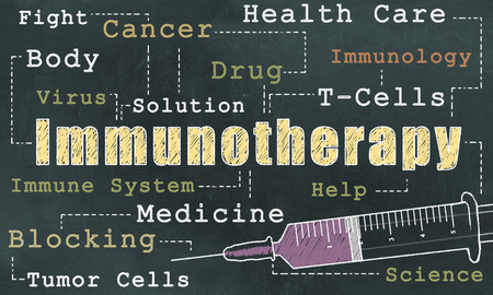 Words of Immunotherapy on Blackboard in Classic old Style Stock Photo