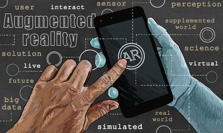 Worte der Augmented Reality im klassischen Stil Standard-Bild - 87553985