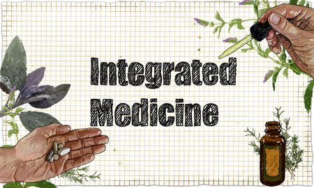 Illustration of Integrated Medicine, Plants and Medicine on Blackboard with Pipette, Tablets and Herbs Standard-Bild - 105299531