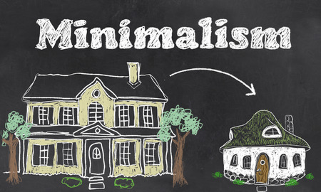 Minimalism illustrated on Blackboard with Chalk