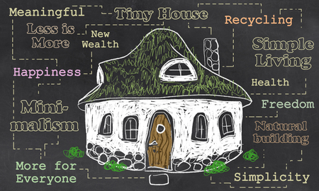 Tiny House illustration about Freedom and Simple Living 写真素材 - 106665613