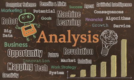 Internet Tools, Analysis and Opportuniities with Tech Words on Brown Blackboard. Illustrated with Robot and Words of Technology Standard-Bild - 109846571
