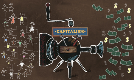 Capitalisme Concept Illustrated with old Machine turning People in to Profit on a Brown Blackboard Standard-Bild - 109846575