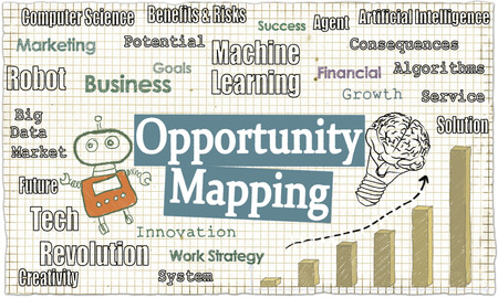 Opportunity Mapping Illustrated with Words, Robot and a Graph in Growth with Tech Words on Classic Old Paper Standard-Bild - 109846578