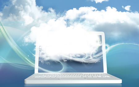 Digital Cloud illustrated on Laptop and Blue Colors and Blank Space for Creativity. 3D Rendered Standard-Bild - 109846597