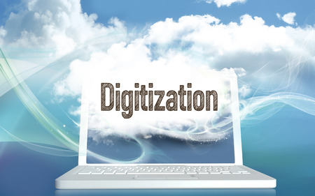 Digitization illlustrated with Clouds on Laptop on a Blue Background. 3D Illustration and Typography Stock Photo