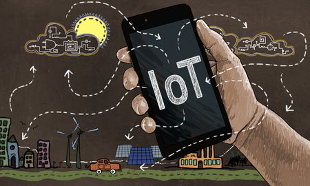 Internet of Things Concept in Classic Drawing Style with a Smart Phone Connecting to Clouds and Things like an Electric Car and Solar Panels Stock Photo