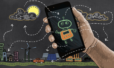 Future Technology automates Renewable Energy. Illustrated in Classic Drawing Style with Robot, Smart Phone and Technologies Stock Photo