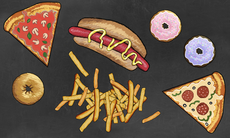 Junk Food such as Dougnuts, French Fries, Pizza and Hot Dog illustrated on Blackboard Stock Photo