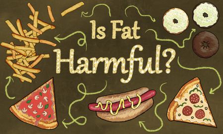 Junk Food and the Question: Is Fat Harmful? Illustrated in classic Drawing Style on a Brown Blackboard Stock Photo