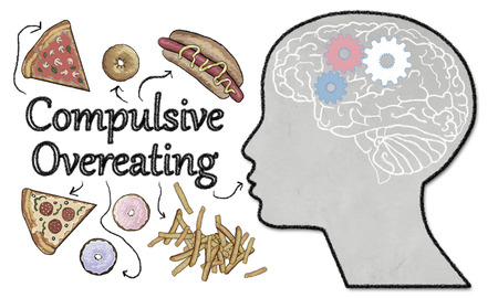 Compulsive Overeating illustrated with Junk Food and Brain Activity on white Background Фото со стока