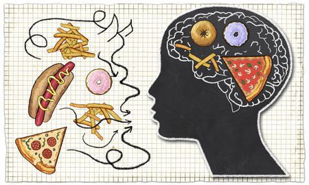 Addiction illustrated with Fast Food and Brain in Classic drawing Style on Paper and the Food outside Female Head depicts an evil, abstract Junk Food Devil