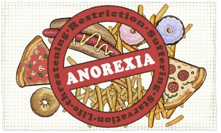 Anorexia illustrated with stop Sign and the Words: Starvation, life-threatening, restrictrion and suffering